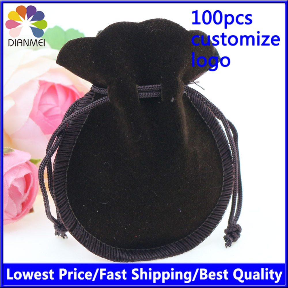 Free Shipping 100pcs/Lot 7x9cm Black Fashion Velvet Bag Gourd Bag Jewelry Pouch Gift Bags Can Customized Logo Printing(China (Mainland))