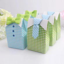 50 pcs My Little Man Blue Bow Green Tie Birthday first communion Boy Baby Shower Candy Bag Wedding Favors Candy Box gift Bags(China (Mainland))
