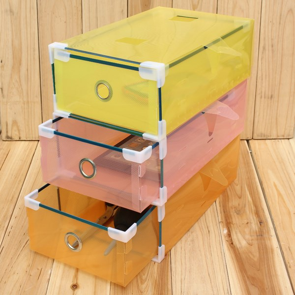 Drawer Design Shoe Storage Box Plastic and Clear Colorful Travel Storage Bag/Box for Shoes and sundries 30X9cm(China (Mainland))