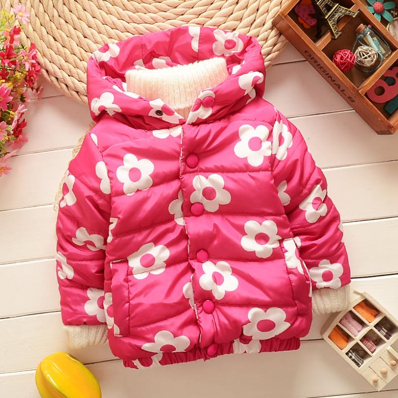1Pc New Baby Flower Winter Cotton Coats Infant Cotton-padded Clothes Baby Girls Winter Hooded Outwear Free Shipping <br><br>Aliexpress