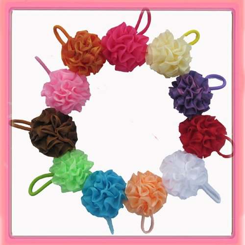 Free shipping! 24pcs/lot 11colors pompom elastic hair band ponytail hair holder mix order(China (Mainland))