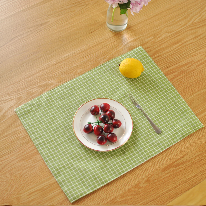 Fresh green plaid cloth Doily cotton double garden mat manufacturers selling coffee Western-style food table mat placemat(China (Mainland))