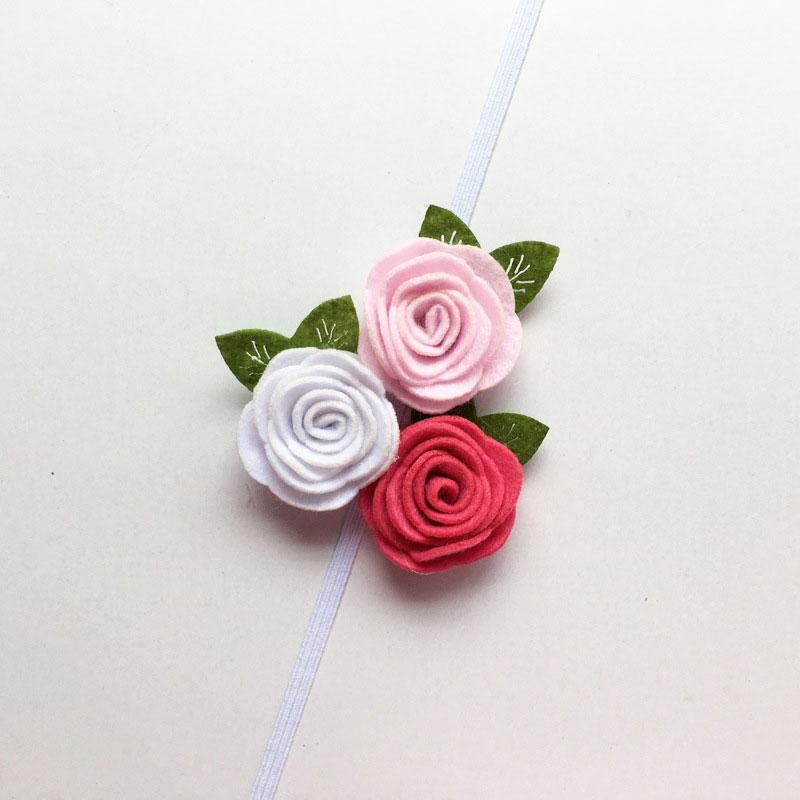 1pc Retail Newborn Photo Props Birthday Gift Children Baby Girls Felt Rose Headband Red White Black Pink Peach Flowers etc.(China (Mainland))