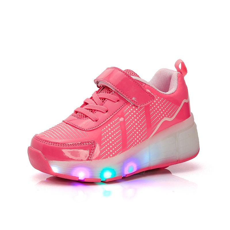 wheelie shoes led children rodinha luminous illuminated sneakers 2017 roller skates 1 wheels shoes for kids