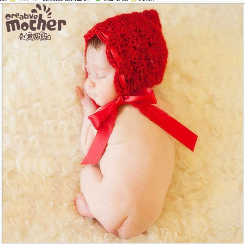 Baby Girls Red Riding Hood Infant Candy Color Kawaii Hat Newborn Knitted Crochet Girl Hats Photo Props Photograght Accessories(China (Mainland))