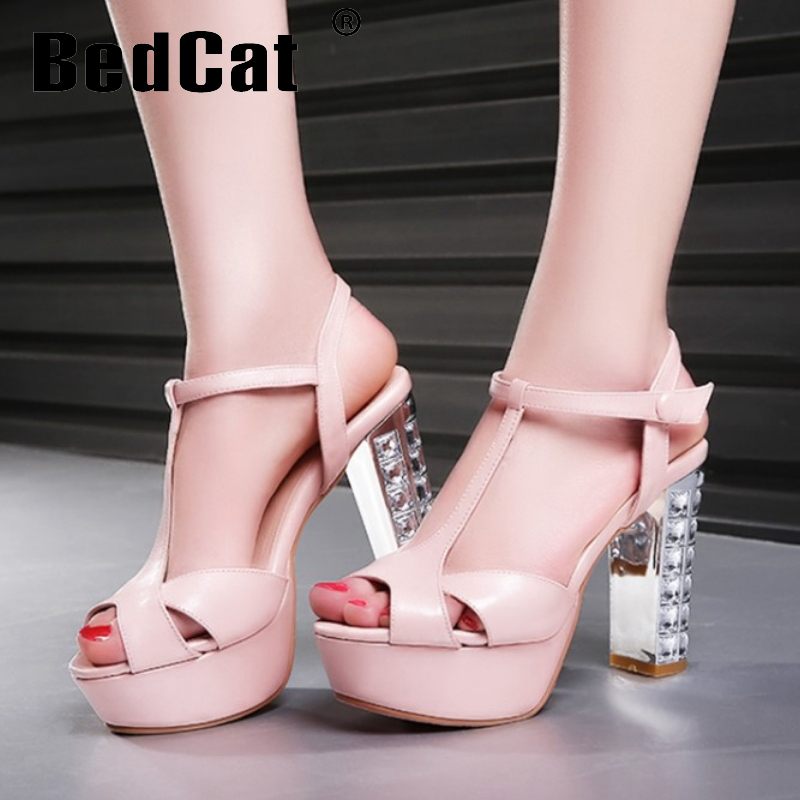 women stiletto real genuine leather ankle strap square high heel sandals sexy fashion brand heeled ladies shoes size 34-39 R6851<br><br>Aliexpress