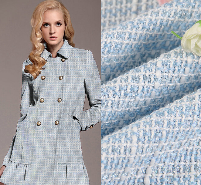 1 meter wool woolen fabric textile for winter, high quality windcoat fabric, yarn dyed blend tweed fabric for women's coat(China (Mainland))