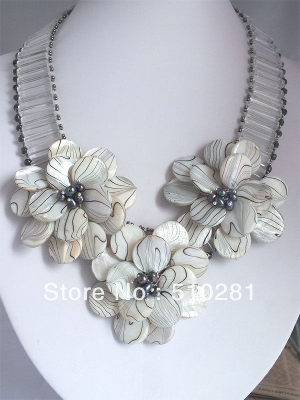Fashion Wired Wrap Stone Flower Necklace for girls M#001(China (Mainland))