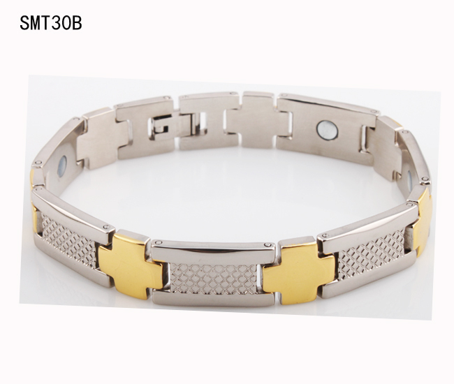 fashion jewery men germanium stainless Steel men's Bracelets&bangles health magnetic gold Women cross Bracelet - ZZ Jewelry store