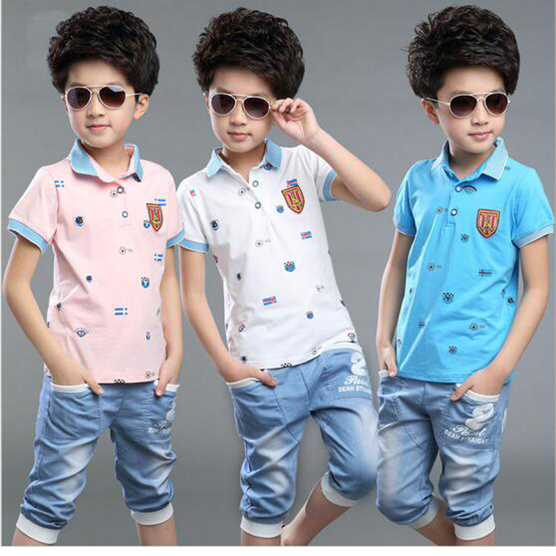 2016 New Tracksuit Children Casual Boys Summer Clothes T-Shirts And Jeans Pants Cool Kids Clothes Short Sleeve Roupa Menino(China (Mainland))