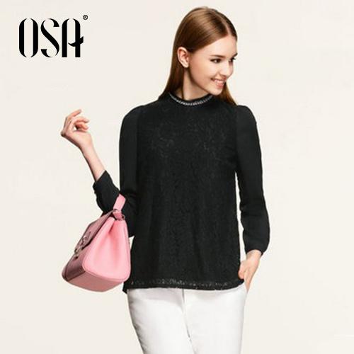 OSA 2015 New Women Lace Shirt Puff Sleeve Stand Beading Collar Slim Blouse Patchwork Chiffon Top Clothing Black SV545008(China (Mainland))