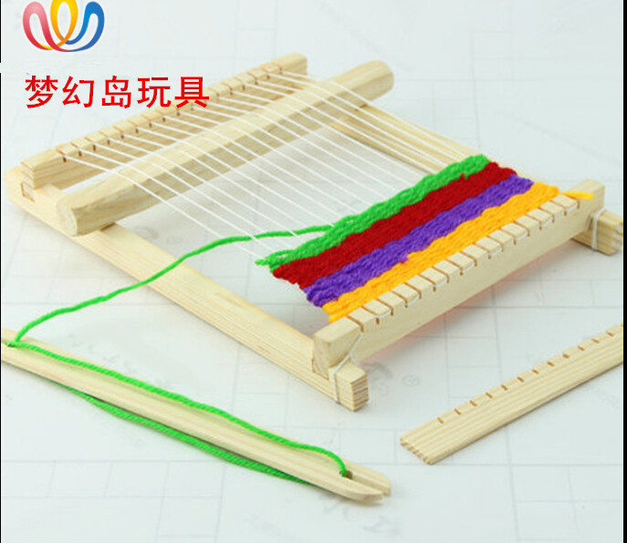 Loom Knitting For Kids : Freeshopping children loom girl diy hand woven wooden toys