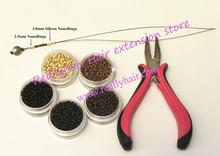 5000pcs Silicone Nano rings+1pcs three hole plier+1 pcs NanoRings hook needle for NanoRings hair extension tool kits
