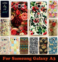 Beautiful flowers mobile phone case hard Back cover Skin Shell for samsung Galaxy A3 A300 A3000 A3009 drop shipping