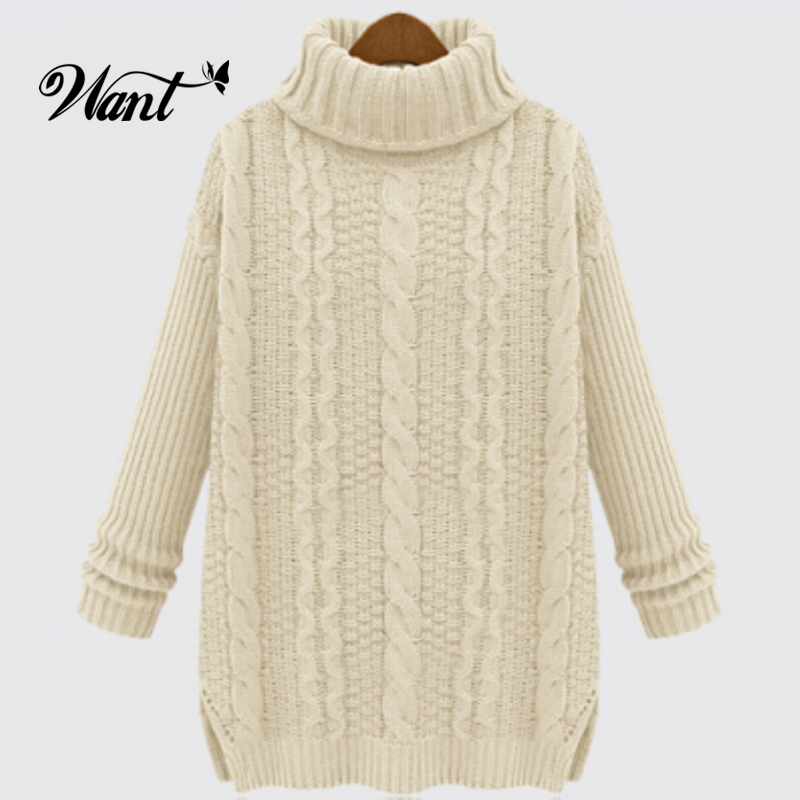 Want Wool Women Knitted Sweaters And Pullovers Fashion 2015 Autumn Oversized Turtleneck Sweater Cute Winter Women Knitwear MY1(China (Mainland))