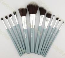 Jessup Pro MakeUp Cosmetic Set Eyeshadow Foundation wood Brush blusher Tools set  12pcs Bule/Silver
