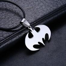 Braveman Slippy Bat Batman Necklace 316L Stainless Steel Sign Pendant Necklaces Leather Chain Fashion Men Jewelry Bijoux Gifts