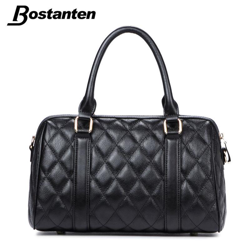 Bostanten Dress Women Famous Brand Designer Genuine Leather Handbag Ladies Pillow Shoulder Bag Plaid Zipper Female Crossbody