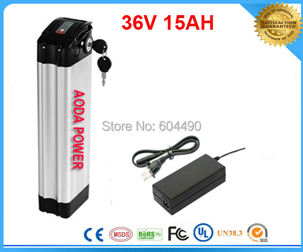 free shipping 1pcs/lot 36V 15Ah Electric Bicycle Battery with Aluminum Case ,42V 2A charger(China (Mainland))