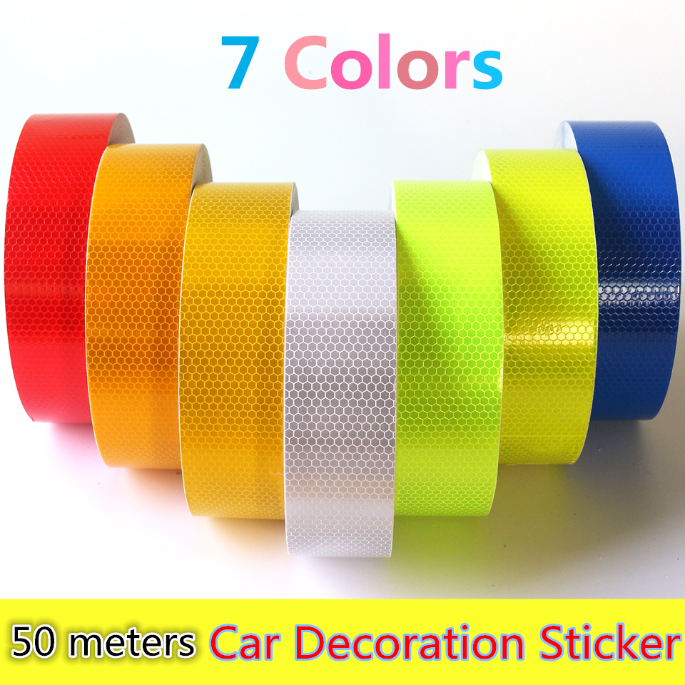 Wholesale 5cmx50m reflective strips motorcycle safety mark - Decoration murale auto adhesive ...