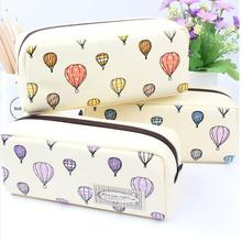 1PCS High Capacity leather cut kawaii pencil box school pencil bag girls hot air balloon pencil case stationery penalty 04869(China (Mainland))