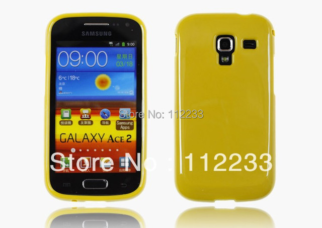 2013 Soft TPU Cover for Samsung i8160 Galaxy Ace 2 I8160 phone Case Yellow Color Free Shipping tracking number smartphone covers