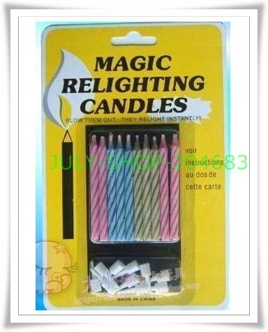 free shipping! magic relighting candles trick product toy for birthday wedding party stick candle gag joke making April fool day