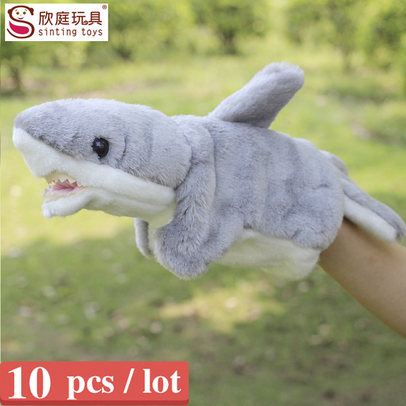 Sale baby love plush toys shark hand puppets for kids plush anmial hand puppet doll large size shark finger puppets 10 pcs / lot(China (Mainland))