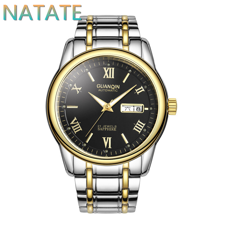 NATATE Fashion Men Roman numerals GUANQIN Brand Watch Luxury Automatic Self Wind Hand Wind Business waterproof Watches 1240<br><br>Aliexpress