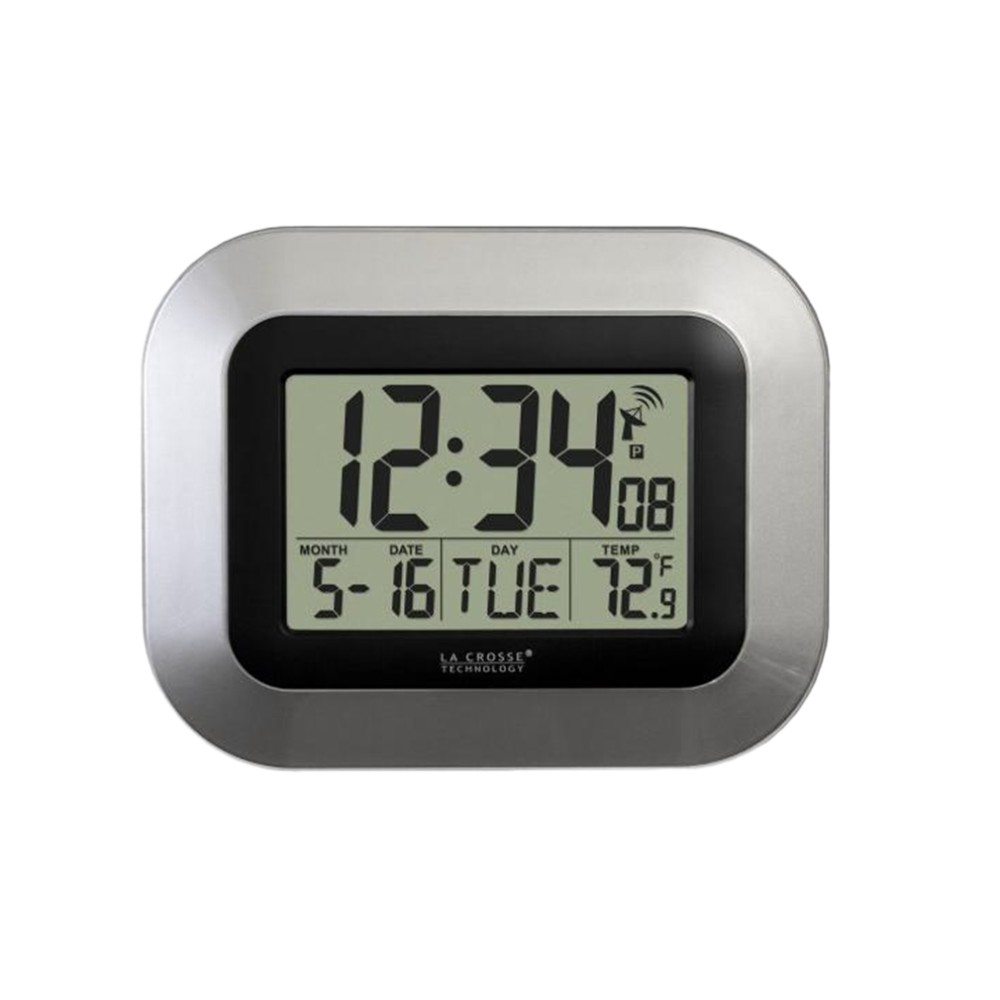 Self Setting Digital Dwelling Workplace Decor Wall Clock With Indoor Temperature Model New