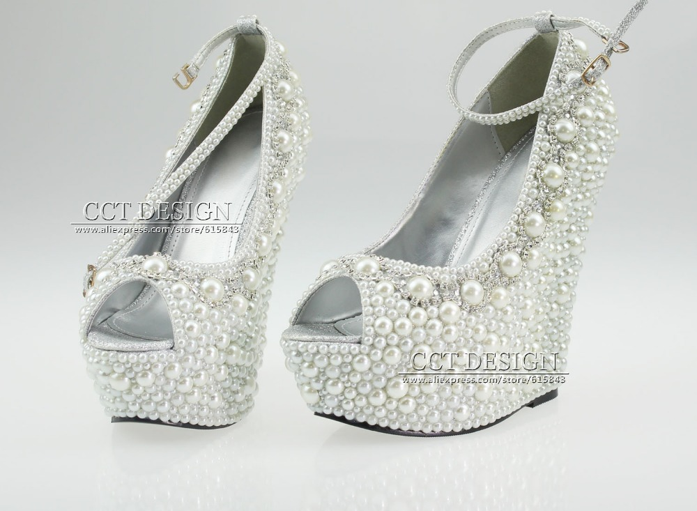 2014 New Fashion Wedding Wedges formal wedding shoes White ...