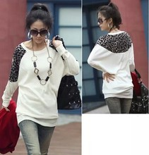 2015 fall and winter clothes new Korean version of women fashion women leopard loose bat sleeve blouse(China (Mainland))
