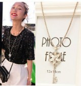product Super Flash Fangzuan magazine article wild long section of the female shape crystal key necklace Fashion Jewelry  free shipping