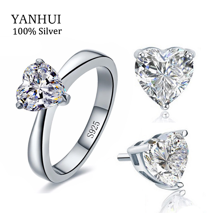 Bridal Wedding Jewelry Sets for Women Real 925 Sterling Silver Heart CZ Stud Earrings Ring Bridal Jewelry Sets African TZ002(China (Mainland))