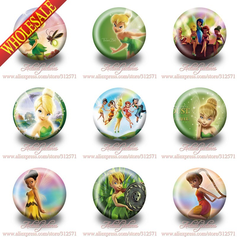 Hot selling,90pcs Tinker bell hot cartoon badges Button Pin Round Brooch Badges,Bags Clothes Decoration,Kids Party Favor Gift<br><br>Aliexpress
