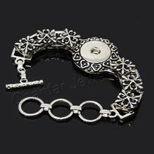 Hot sale Adjustable alloy snap button bracelet chains jewelry for 18mm snap ,various styles for choice (China (Mainland))