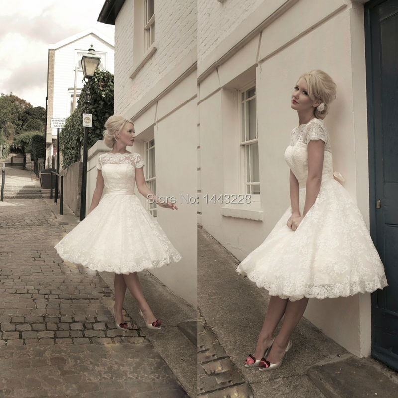 Lace Tea Length Wedding Dress With Sleeves Tea Length Wedding Dress