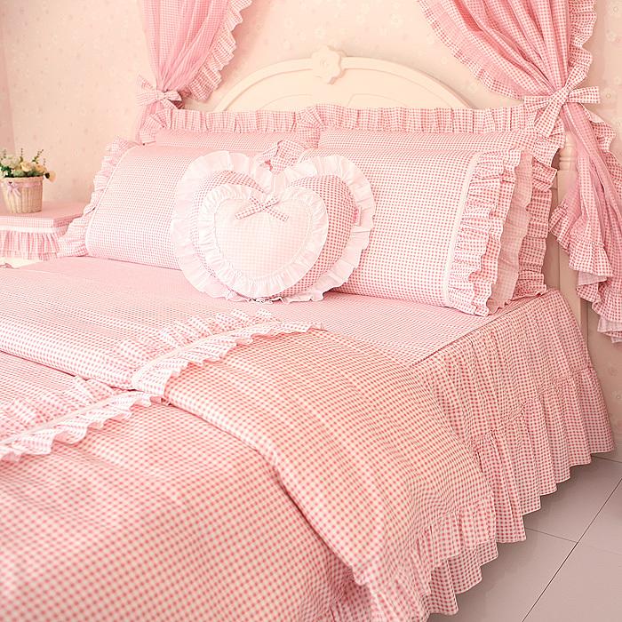 free shipping princess pink plain ruffle bedding sets kids angel duvet cover set twin queen king. Black Bedroom Furniture Sets. Home Design Ideas