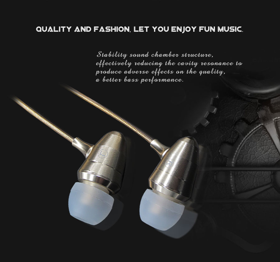 Golden Silver Metal Earphones With Strong Wire & 3D Stereo Bass Earbuds Earphone For Android/IOS Phones Xiaomi iphone Oppo PC