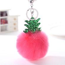 Fofo Bola Pompom Keychain Encantos Da Árvore de Natal do Saco Das Mulheres da Pele Do Falso Abacaxi Bugiganga Anel Chave Do Carro Chaveiro Cadeias 2C0322(China)