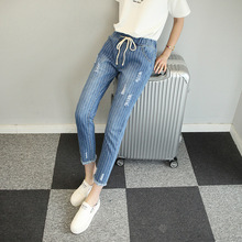 JY.2016Women New Blue Striped Jeans Female Large Size 5XL Elastic Waist Pants Hole Loose Harlan Summer Trousers Hot Sale Z