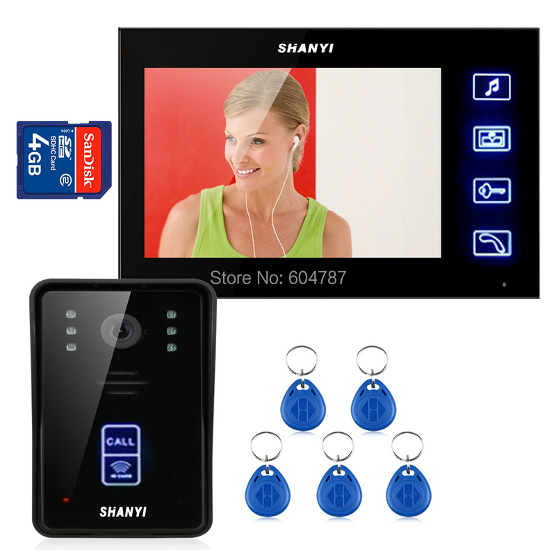 7 TFT Color LCD Intercom Doorbell Video Record IR Night Vision Touch Key with 4G SD Card Rainproof <br><br>Aliexpress