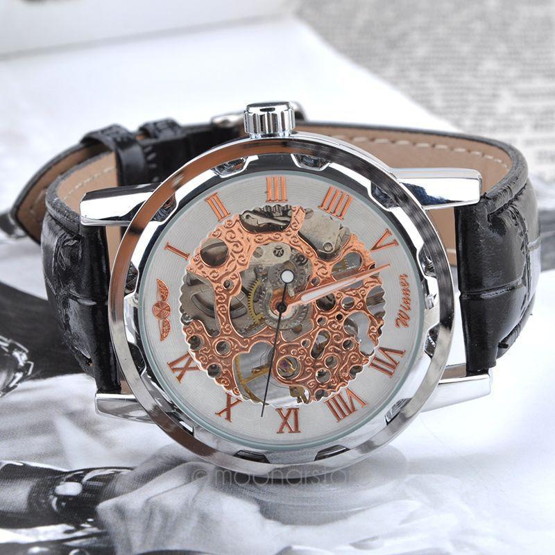 Vintage Skeleton Wheel Gear Totem Watch Greek Numerals Dial Watches Cool Men Retro Hollow Mechanical Watch