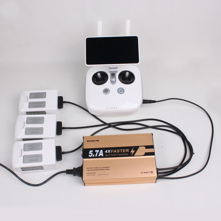 Sunnylife 4 Faster Charger 4in1 Battery and Remote Controller Charger 5.7A Big Current for DJI Phantom 4 4PRO 4PRO+
