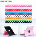 Luxury Smart Cover Colorful Dot Design 360 Degree Rotating PU Leather Cover Case For Apple iPad