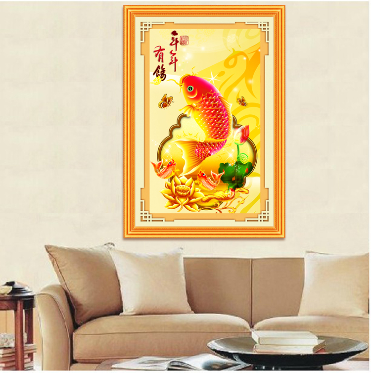 Accurate 3 D printing silk cross-stitch Fish every year latest sitting room series restaurant big picture dramatically Drawing c(China (Mainland))