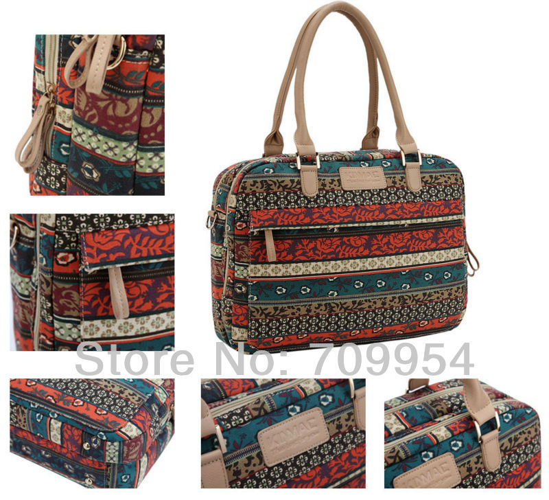 "Canvas 13"" 13.3"" 14"" 14.4"" 15"" 15.4"" 15.6"" Laptop Shoulder Bag Bohemian Style Cover Netbook Case Pouch For Dell Lenovo HP(China (Mainland))"