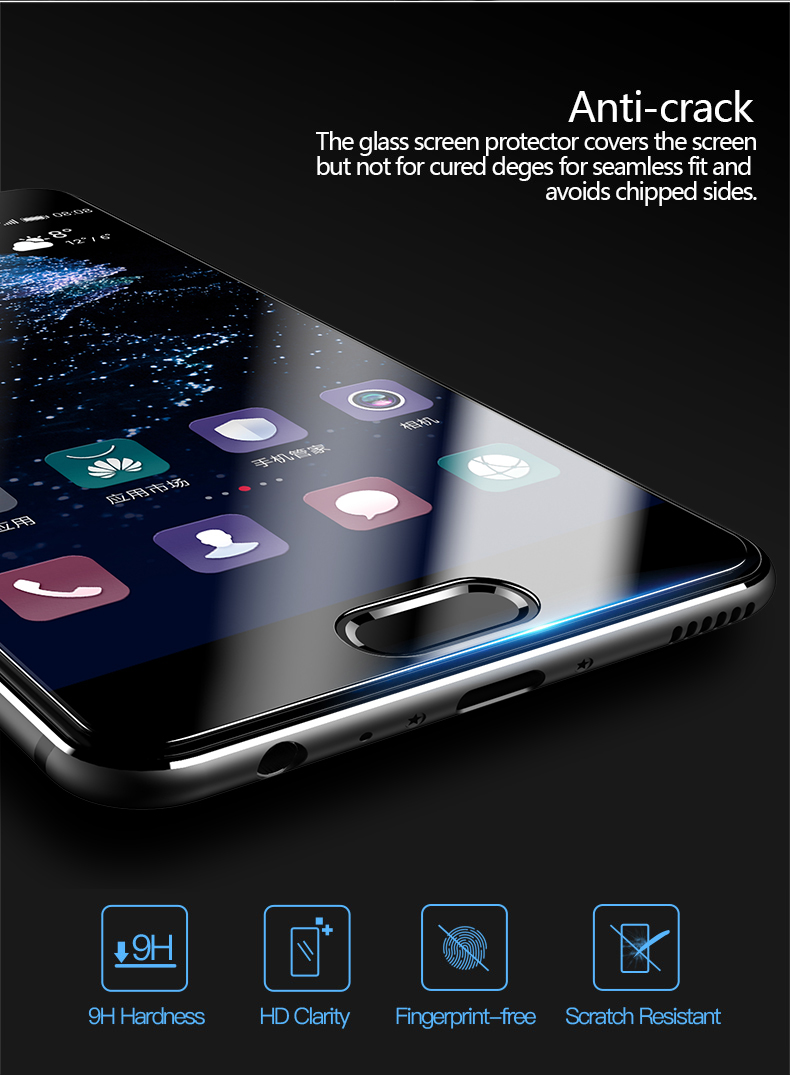 CAFELE Screen Protector for huawei p10 HD Clear 2.5D Curved Edge 9H anti-Glare Tempered Glass Protective for huawei p10 plus