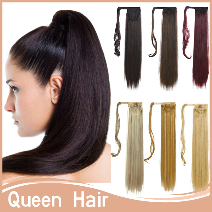 """17 Colors!!! Long Ponytails130g 24"""" 60cm Women Straight Ponytail Hair Extension Wrap Around Ponytail Hair Piece Mutlicolor P001(China (Mainland))"""