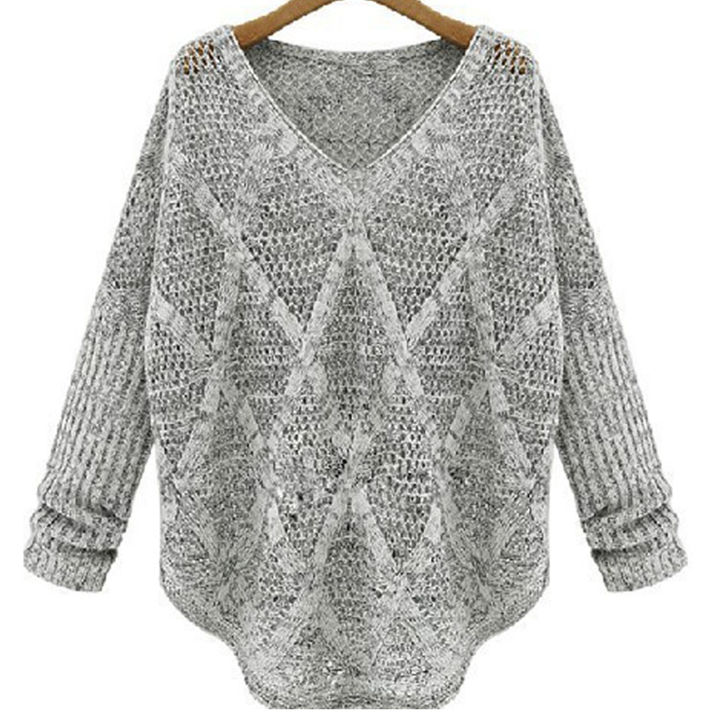 Freeshipping 2015 New Candy Color Loose Hollow Batwing Long Sleeve Women Knit Sweater V-neck Long-sleeved Women Tops Pullover(China (Mainland))